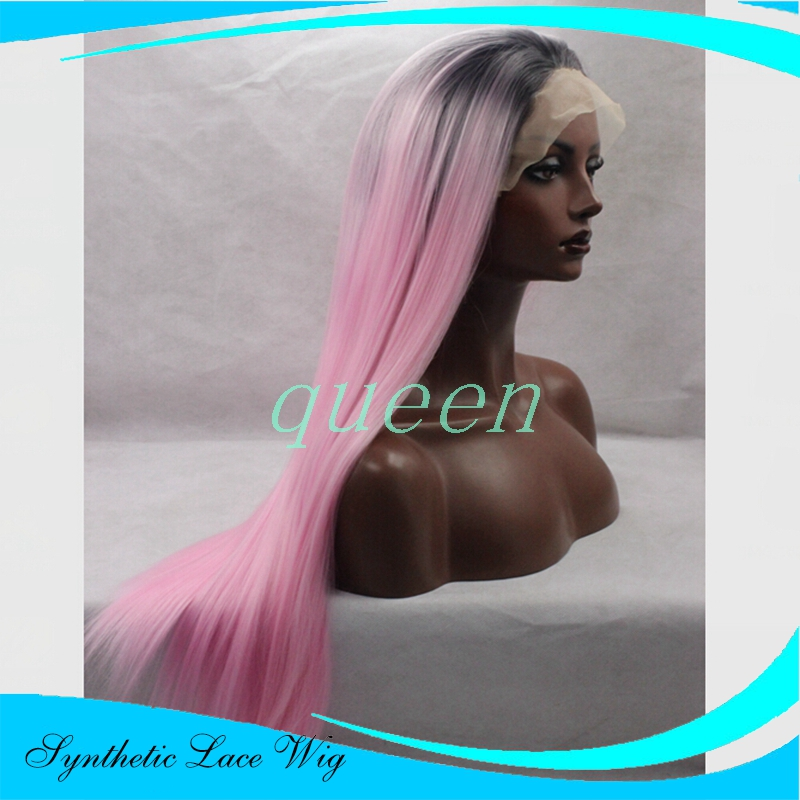 150% Density Black Ombre wigs Synthetic Wig Long Straight Dark Root Ombre Pink Front Lace Wig Heat Resistant Hair Wigs For Women<br><br>Aliexpress