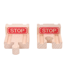 2pcs End Bumper Buffer Stop Set Wooden Railway Track Accessories Wooden Train Tracks Set Blocks Toys bloques de construccion