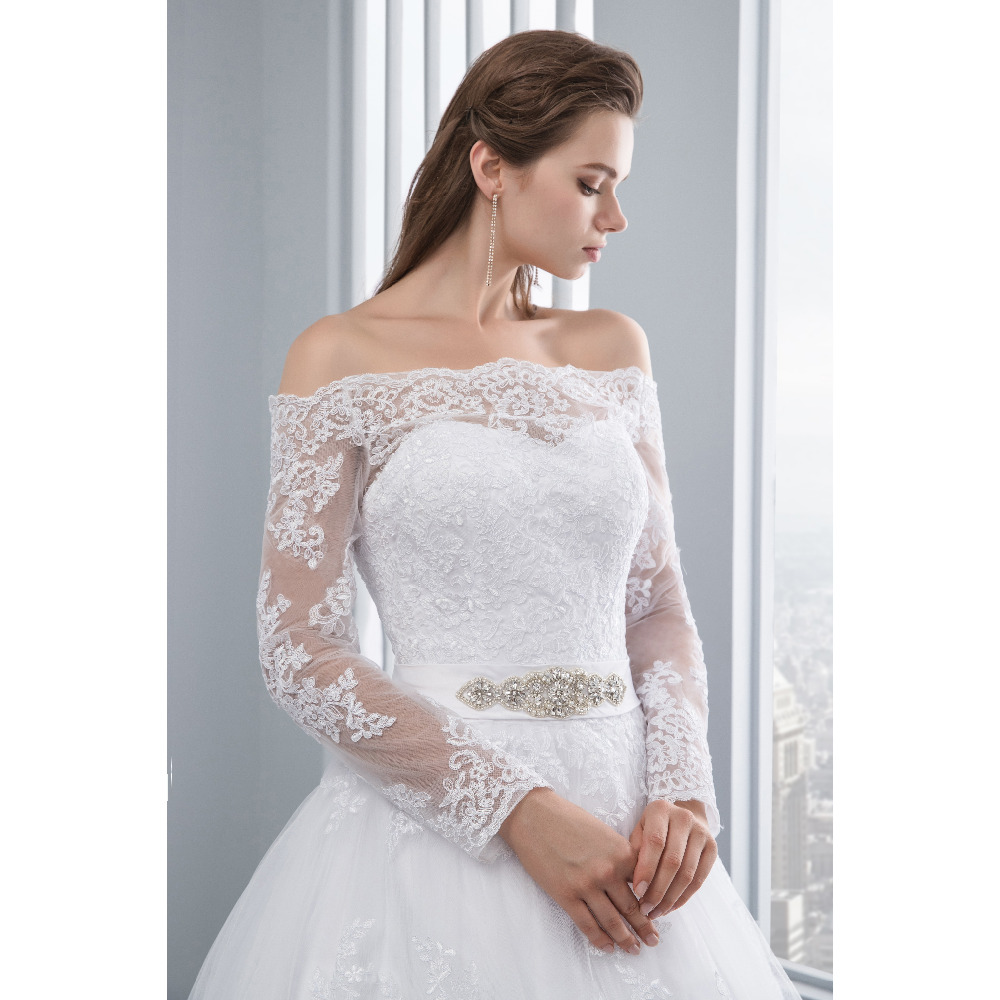 Lover Kiss Wedding Dresses Princess Lace Bridal Bride Gowns with veil robe de mariage Luxury Vintage Long Sleeves off Shoulder 7