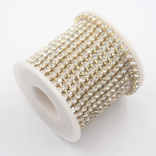 Rhinestone Trim 10yard/lot Ss16 clear crystal strass 1 row dense Gold Metal claw cup chain sew on rhinestones chain for clothes