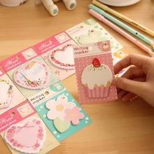 1pcs/lot New flower heart Notepad   memo pads   sticky note   label   message post marker  bookmark office and school supplier