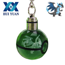 HUI YUAN Charizard X Pokeball Keychain LED Novelty Light Engraving 3D Crystal Glass Ball Keychain(China)