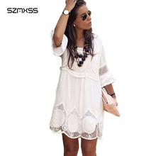 Plus Size L- 6XL Women Summer Lace Dress Fashion White Half Sleeve A-Line Hollow Out Mini Dress Loose Causal Sexy Party Dresses