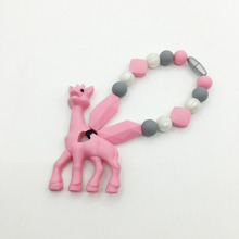 FREE SHIPPING! Silicone Baby Giraffe Carrier Teether Necklace - Giraffe teether Necklace - Hangs on Baby Carrier Necklace(China)