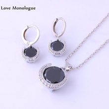 Love Monologue Round Black Imitation Onyx Silver Color Hoop Earrings and Pendant Necklace Jewelry Sets for Women's H0052