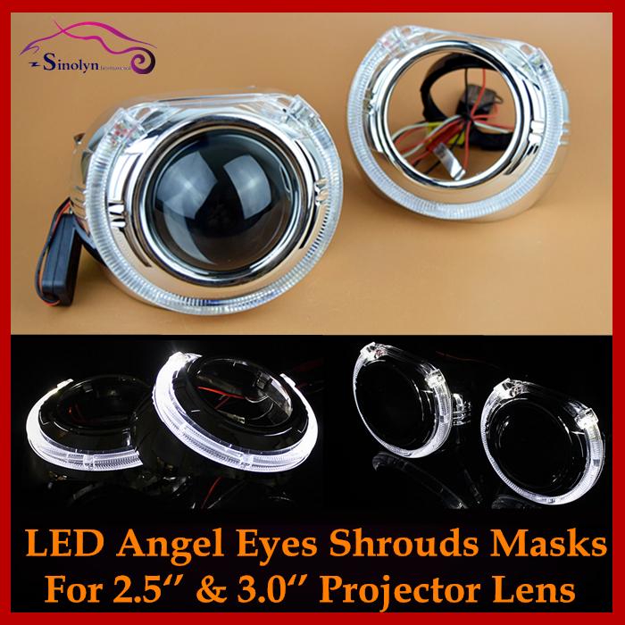 LED Daytime Running Light Angel Eye Integrated Bezel Shroud Masks Smax For 2.5&amp; 3 Inches Bi xenon Projector Lens<br><br>Aliexpress