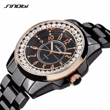 SINOBI 2017 Fashion Diamonds Watch women Luxury Brand Dress Imitation Ceramics Watchband Top Ladies Geneva Quartz Clock female