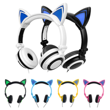 MINDKOO Foldable Flashing Glowing cat ear headphones Gaming Headset Earphone with LED light For PC Laptop Computer Mobile Phone