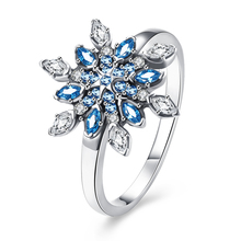 2017 New sterling-silver-jewelry Classic Crystalized Snowflake Rings Women 925 Sterling Silver Blue & Clear Crystals Ring GTR157(China)