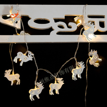HOT SALE Wapiti Elk Deer 10 LED String Lights White Iron Steel Material Battery Operated Fairy lights Christmas Tree House Decor