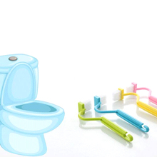 1 piece Portable Toilet Brush Scrubber V-type Cleaner Plastic Long Handle Clean Brush Bent Bowl Handle Color Random