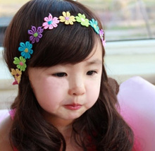 Fashion Cute Children Baby Toddler Girls Candy Color Embroidery Flowers Elastic Ribbon Hair Band Headwear Hair Accessories