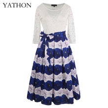 YATHON Womens Chic Blue Print White Lace Dress Pin Up 2017 Ladies Flare Embroidery Boho Long Casual Office Work Party Dresses(China)