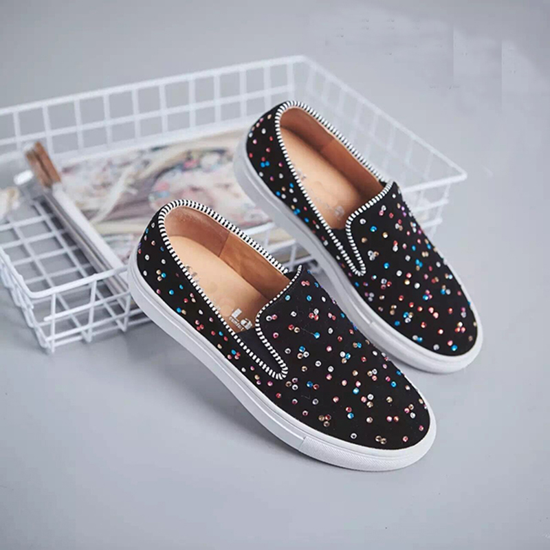 2017 Plus Size Autumn Women Snakes Loafers Flats Shoes Rhinestone Platform Casual Single Shoes For Femal a Pedal Lazy Shoes YB35<br><br>Aliexpress