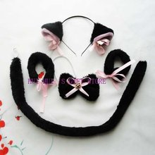Free shipping ,halloween party costume set black white cat  ear headband,bow tie ,tail,Bracelet