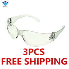 Free Shipping 3 PCS Safety Glasses Lab Eye Protection Protective Eyewear Clear Lens Workplace Safety Goggles Supplies(China)