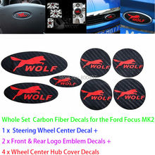 Newest 3D Carbon Fiber Vinyl Set Steering Wheel Emblems Wheel Hub Stickers Wolf Decasl for Ford Focus MK1 MK2 MK3 Focus ST RS(China)
