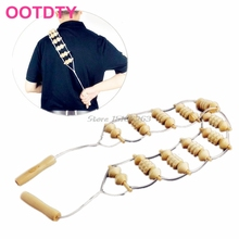 Beige Wooden Wheel Body Back Waist Neck Care Roller Comfortable Massager Care -Y207 Drop Shipping
