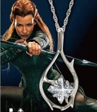 the elf Tauriel necklace crystal silver pendant for women cosplay wholesale