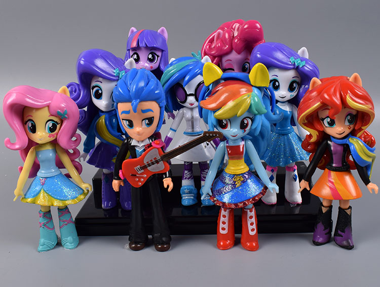 9pcs/lot Twilight Sparkle Rainbow Dash Apple Jack Rarity Fluttershy Pinkie Pie Sunset Shimmer Action Toy Figures Kids Toys<br>
