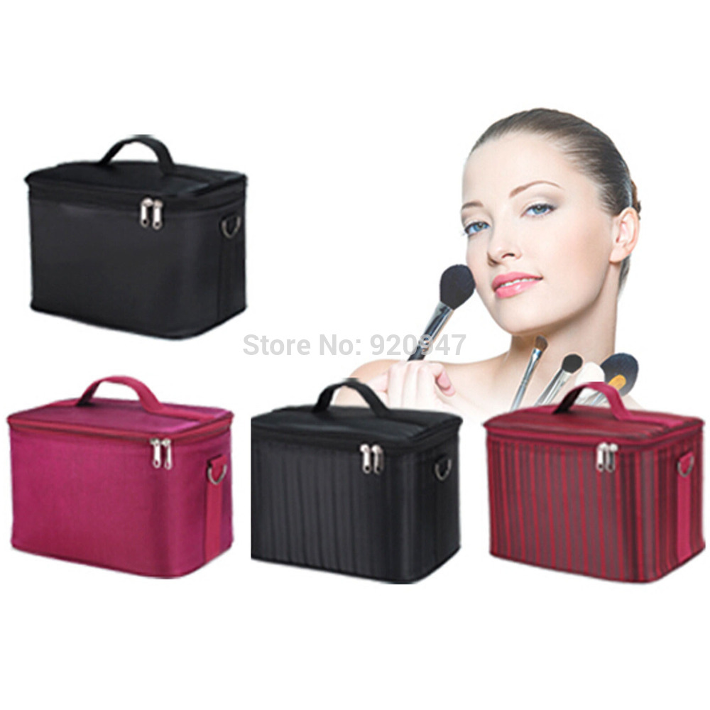 3 Colors Professional Portable Make up Box Makeup Bag Beauty Case Cosmetic Bag Multi Tiers Jewelry Box<br>