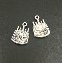 10 Pcs Antique Silver Metal Birthday Cake Charms Bracelet Necklace Jewelry Making Handmade DIY A1244(China)