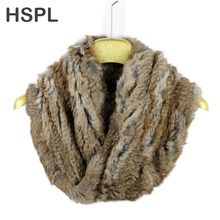 HSPL Big Knitted Fashion  Rabbit Real Fur Neck Warmer With Cross On The Front  Big Knitted Round  Fur Scarf