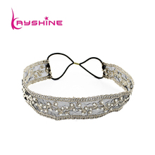 Kayshine Fashion Black Beige Color Elegant  Delicate Imitation Pearl With Elastic Ribbon Wide Hair Band For Women