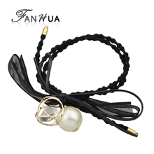 FANHUA Fashion Plaits Hair Accessories Black Elastic Colorful Lace Bowknot Simulated Pearl Charm Headbands Headwear Accessories(China)