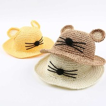 2016 Lovely Cartoon Baby Sun Hat children's Straw hat. baby girl summer hat , Kids Beach visor hat(China)