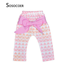 SOSOCOER Leopard Baby Girl Pants Big Bow-knot Kids PP Pants High Quality Cute Geometry Pattern Harem Trousers For Girls Clothes(China)