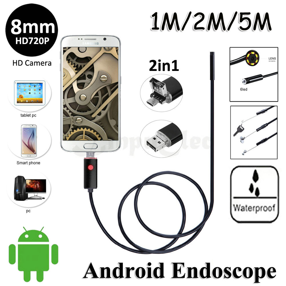 8mm Lens 2in1 Android USB Endoscope Camera HD720P 5M 2M 1M Flexible Snake Pipe Inspection Android Phone OTG USB Borescope Camera<br><br>Aliexpress
