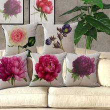 New Rose Flower Small Fresh Cotton Linen Cushion Home Sofa Car Decorative Pillow Decor Pillow(China)