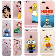 Simpson Homer Case for iphone 6 6s 5 5s SE 7 plus Minions Stitch Cheap Cover Snow White Fundas Mermaid Soft TPU Silicone Coque