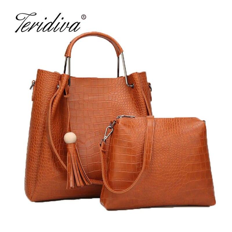 Teridiva Composite Bag Women Top Handle Bags Crocodile Handbag High Quality Women Handbag Women Messenger Bags Shoulder Bag<br>