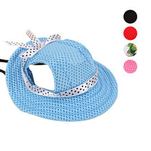 Fashion Pet Hat With Ear Holes Bowknot Mesh Breathable Dog Sunscreen Casual Baseball Cap Dogs Beach Hiking Pets Products TB Sale(China)