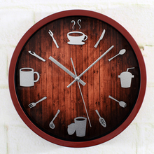 Modern Tableware Knife Fork Cup Round Wall Clock Restaurant Kitchen Creative Design Wall Clock  Silent Non-ticking Wall Clock