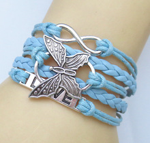 NEW Hot Fashion Leather vivid butterflies LOVE Friendship Charm Sideway Braided Wristband Bracelet(China)