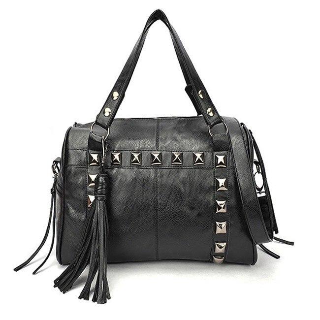 Maras dream Women Handbags Black cool women  PU handbags soft pillow versatile solid shoulder bag with tassel rivet decoration<br><br>Aliexpress