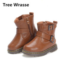 Tree Wrasse Winter New Style Children Snow Boots Boys Ankle Cotton Shoes Kids Plus Cashmere Martin Boots Girls Leather Shoes(China)