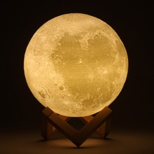 Rechargeable 3D Print Moon LED Lamp 2 Color Change Touch Switch Bedroom Bookcase Light Home Christmas Decor Gift(China)