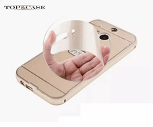 New M8 Cases Luxury Shiny Hard Aluminum Metal Plastic Hybrid Mobile Phone Case For HTC One M8 Back Cover Bag For HTC M8 SJ1957(China)