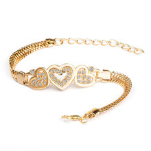 SHUANGR Vintage Heart to Heart Rhinestones Charm Bracelets with Golden Snake Chain For Women Indian Jewelry Valentine's Day gift(China)