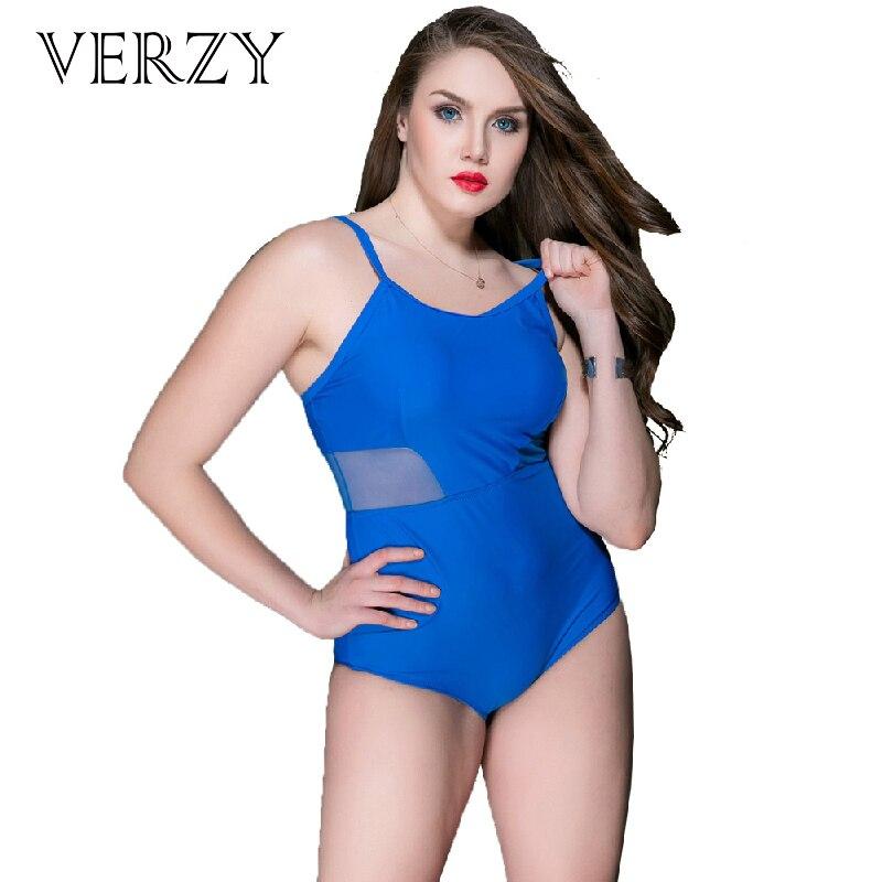 Verzy Women Sexy One Piece Swim Suit Summer Bathing Suit Monolini Solid Mesh U-neck Plus Size Swimwear Female One-piece Suit<br>
