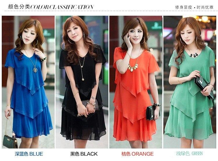 Vestido De Festa Summer Dresses 5XL Plus Size Women Clothing ropa mujer 18 Chiffon Dress Party Short Sleeve Casual Blue Black 2