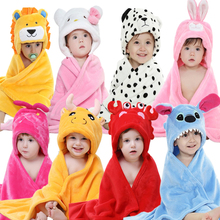 Kawaii Twelve Constellations Baby Hooded Wrap Infant Toddler Soft Flannel Shawl Kids Animal Cloak Blanket Robe Bathrobes(China)