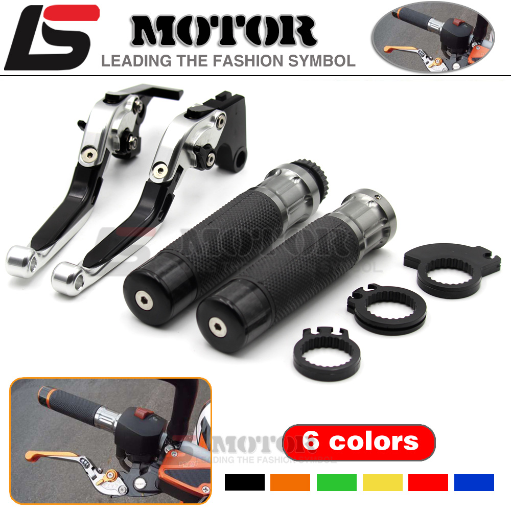 CNC Adjustable Folding Extendable motorcycle Brake Clutch Levers and Handlebar Hand Grips for DUCATI HYPERMOTARD 796  ST4S BLACK<br><br>Aliexpress