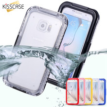 KISSCASE S6 edge Waterproof Swim Diving Case For Samsung Galaxy S6 G9200 S6 Edge Clear Protective Front Back Cover Accessories