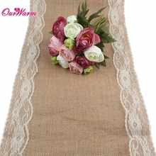 10Pcs/lot Wedding Table Runners 12*106inch Modern Burlap and Lace Table Runner for Wedding Party Decorations Hot Sale 5Colors