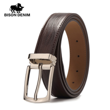 BISON DENIM Men's Belt Genuine Leather Belts Pin Buckle Casual Belt Men BROWN COFFEE Cowskin Leather Strap Belt For Gift W71123(China)